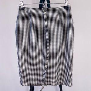 CHRISTIAN DIOR Gingham Check Pencil Skirt w Belt